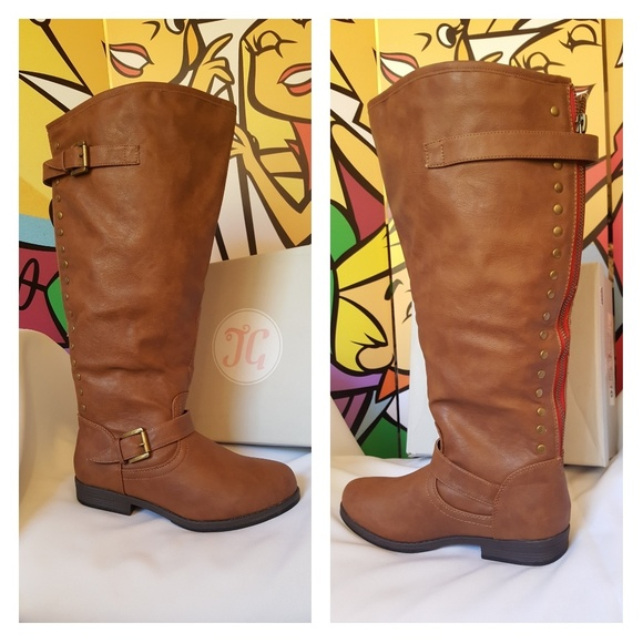 eb053aa9b83 Journee Collection Chestnut Wide Calf Boots 9.5 Boutique